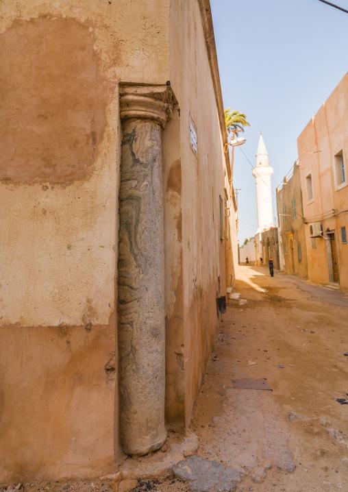 Old roman column in the medina, Tripolitania, Tripoli, Libya
