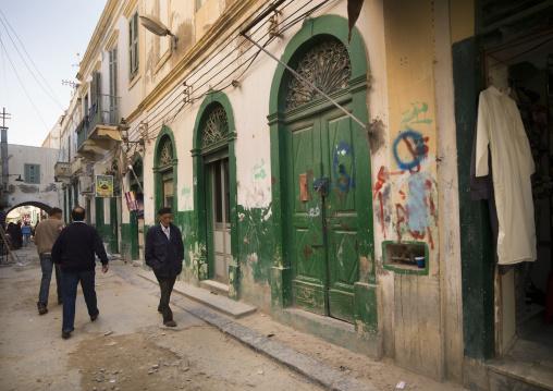Green doors of shops in the medina, Tripolitania, Tripoli, Libya