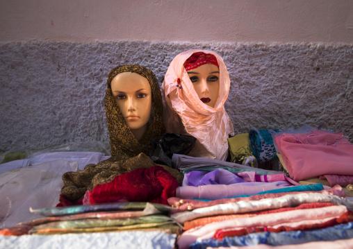 Veils on mannequin for sale in a market, Tripolitania, Tripoli, Libya