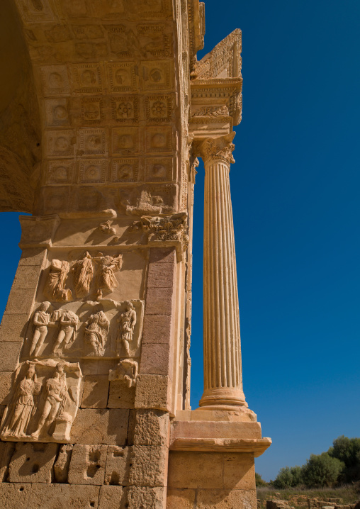 Arch of septimus severus detail in leptis magna, Tripolitania, Khoms, Libya