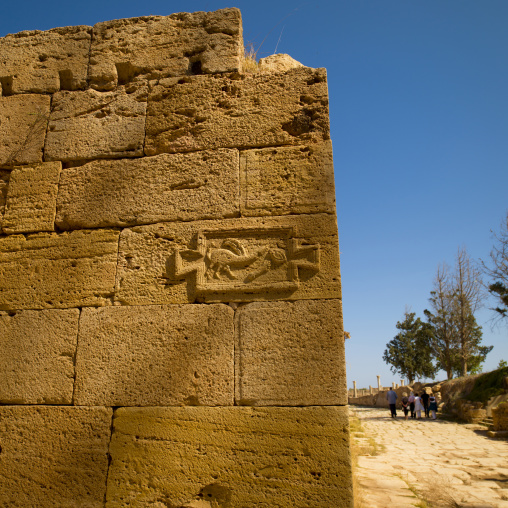 Phallic symbol for prostitute alley in leptis magna, Tripolitania, Khoms, Libya