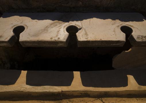 Latrines in leptis magna, Tripolitania, Khoms, Libya
