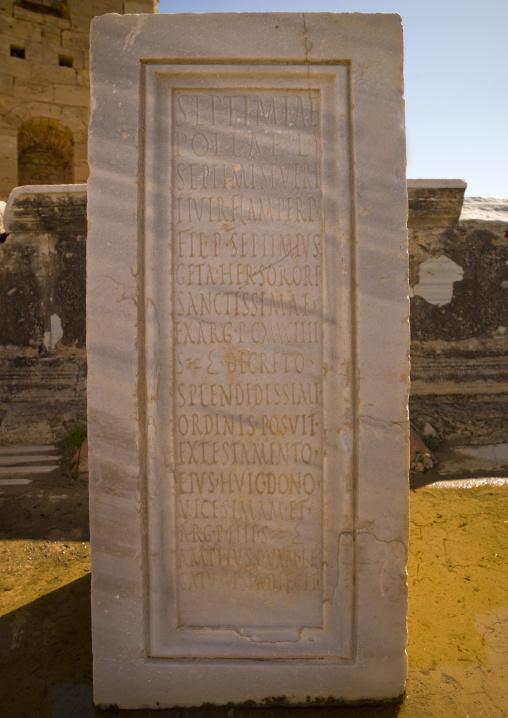 Roman inscriptions in leptis magna, Tripolitania, Khoms, Libya