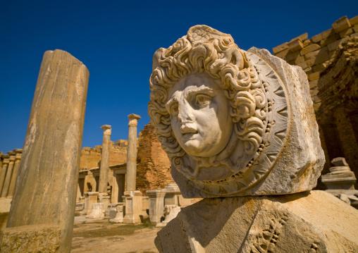 Goddess medusa inside severan forum in leptis magna, Tripolitania, Khoms, Libya