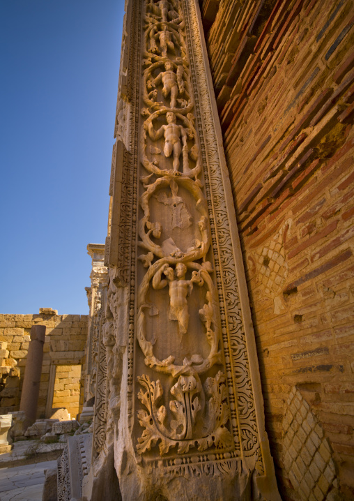 Decoration columns inside basilica of septimius severus in leptis magna, Tripolitania, Khoms, Libya