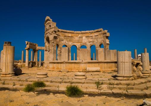 Market place in leptis magna, Tripolitania, Khoms, Libya
