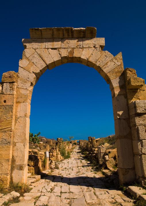 Leptis magna alley , Tripolitania, Khoms, Libya