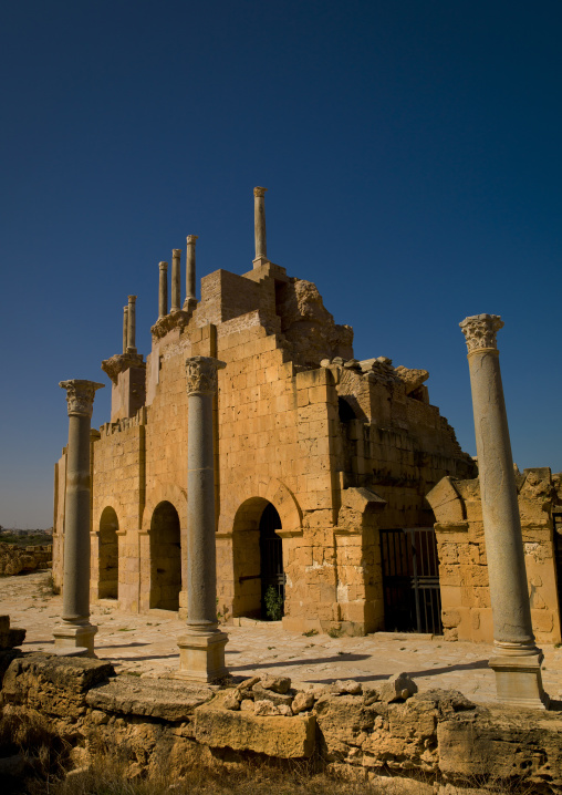 The entrance to the roman theatre in leptis magna, Tripolitania, Khoms, Libya