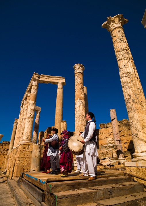 Singers at roman theatre in leptis magna, Tripolitania, Khoms, Libya
