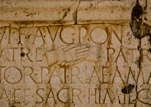 Inscription at one of the gates at the theatre in leptis magna, Tripolitania, Khoms, Libya