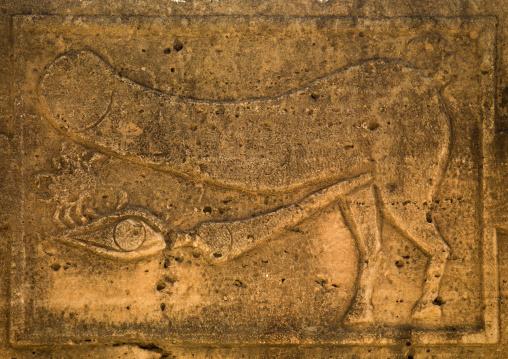 Bas-relief of fascinus in leptis magna, Tripolitania, Khoms, Libya