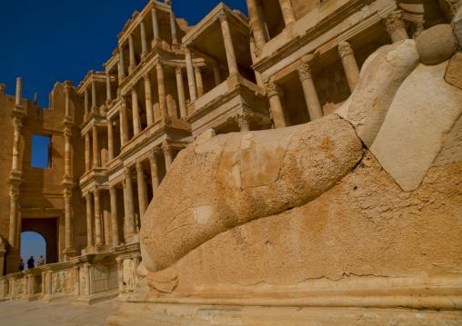 Dolphin statue in theatre in ancient roman city, Tripolitania, Sabratha, Libya