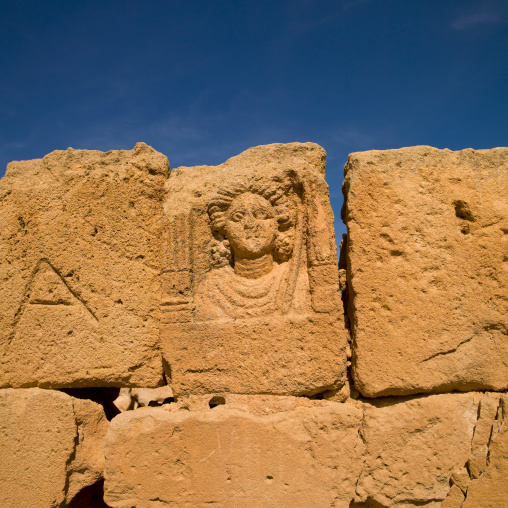 Human head carved on a wall, Tripolitania, Sabratha, Libya