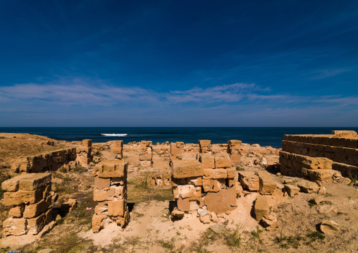 Ruins of a temple in front of the sea, Tripolitania, Sabratha, Libya