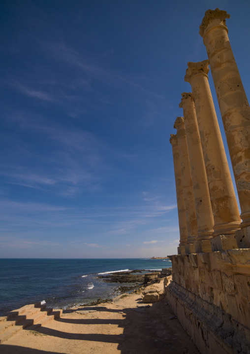 Ruins of the temple of isis in front of the sea, Tripolitania, Sabratha, Libya