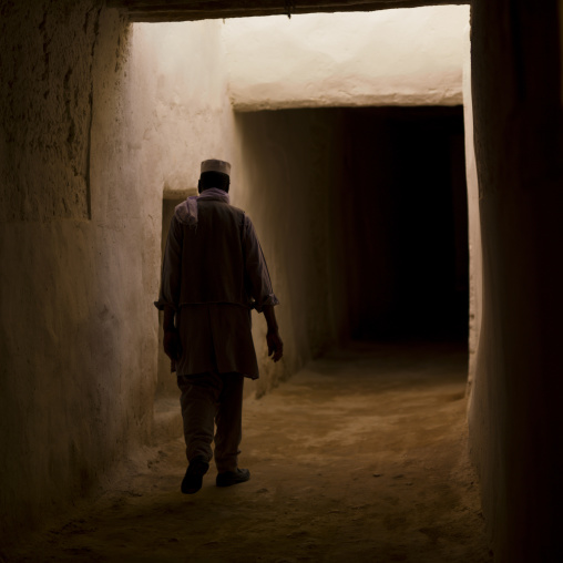 One man walking in the roofed streets, Tripolitania, Ghadames, Libya