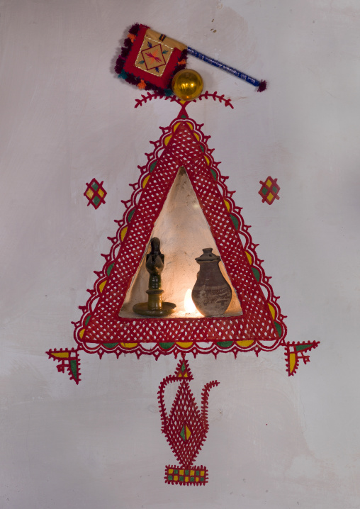 Berber eight-pointed star decorations on a wall, Tripolitania, Ghadames, Libya