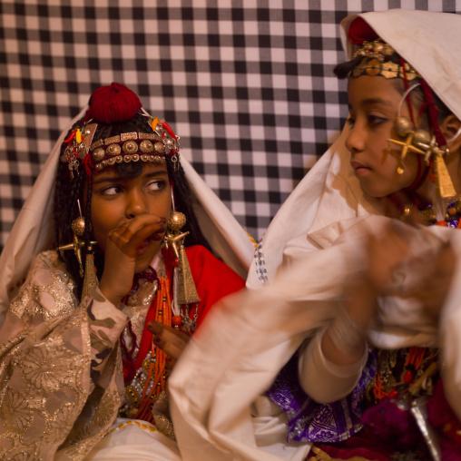 Tuareg girls in traditional clothing, Tripolitania, Ghadames, Libya