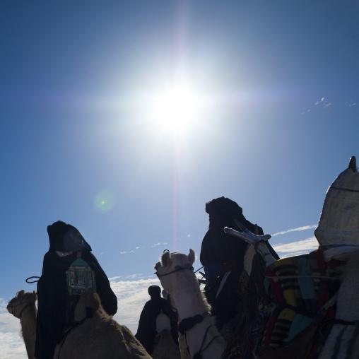 Tuareg men riding camels, Tripolitania, Ghadames, Libya