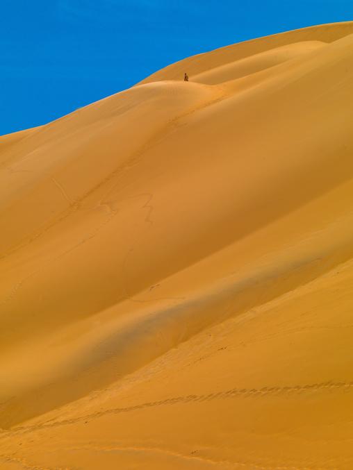 People climbing the dunes in ubari desert, Fezzan, Umm al-Maa, Libya