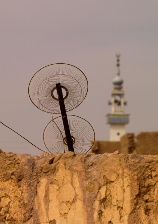 Television antenna and minaret, Cyrenaica, Tocra, Libya