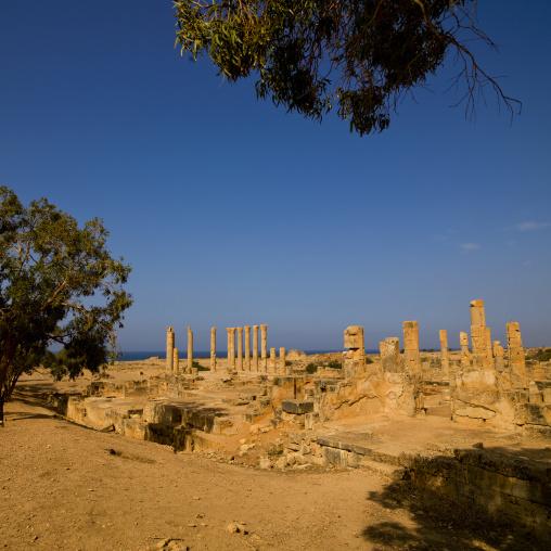 Villa of columns in ptolemais ruins, Cyrenaica, Ptolemais, Libya
