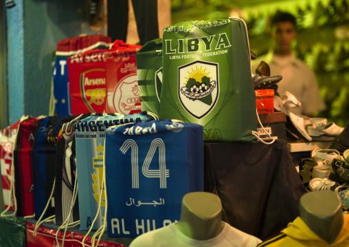 Football shirts sold in the market, Cyrenaica, Benghazi, Libya