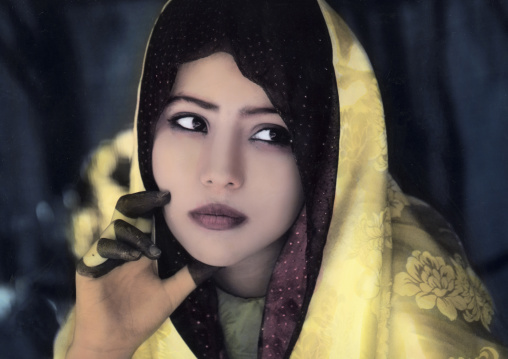 Hand painted picture of a beautiful tuareg girl, Tripolitania, Ghadames, Libya