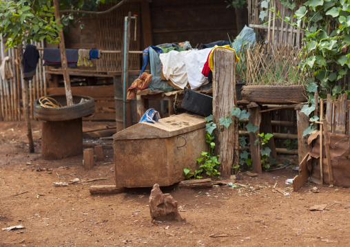 Coffin in a bru minority village, Katou, Laos