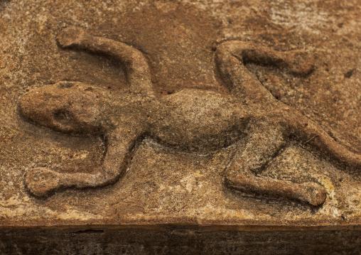 Lizard design on a coffin in a bru minority village, Katou, Laos