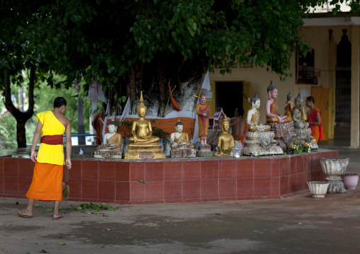 Monk in a buddhist temple, Pakse, Laos