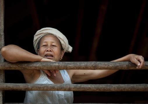 Lao lum tribe old woman, Pakbeng, Laos