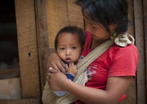 Khmu minority mother and baby, Xieng khouang, Laos