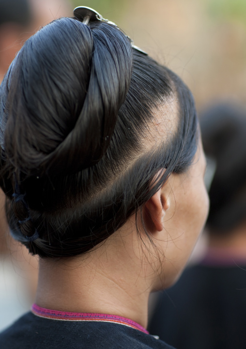 Lantaen minority woamn haircut, Nam deng, Laos