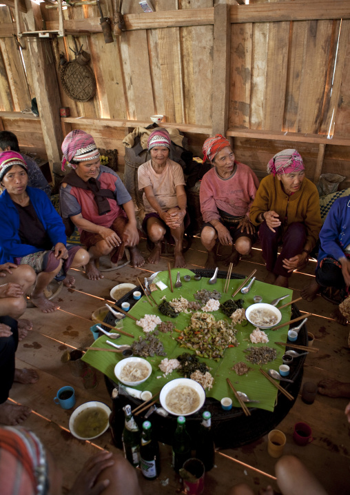 Akha minority people during a wedding, Ban ta mi, Laos