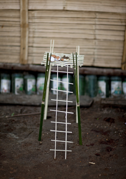 Ladder for offerings in akha tribe, Muang sing, Laos