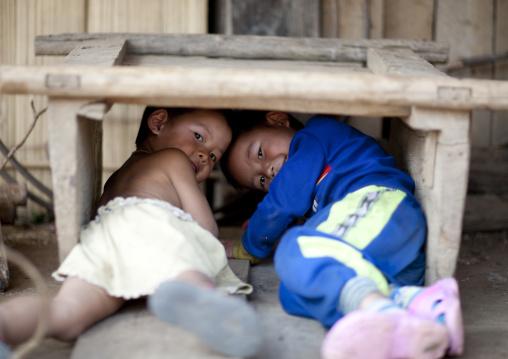 Akha minority kids, Muang sing, Laos