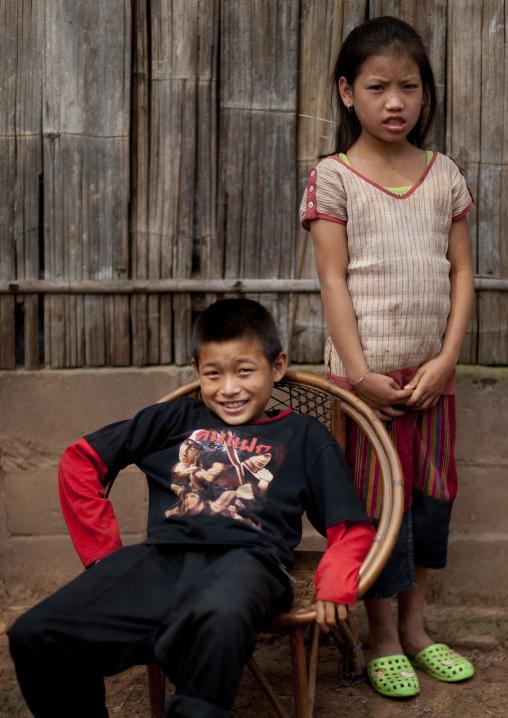 Yao minority kids, Ban xay leck, Laos