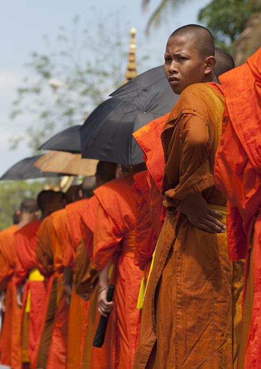 Monks during pii mai lao new year celebration, Luang prabang, Laos
