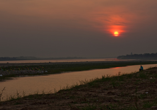 Sunset over mekong river, Vientiane, Laos