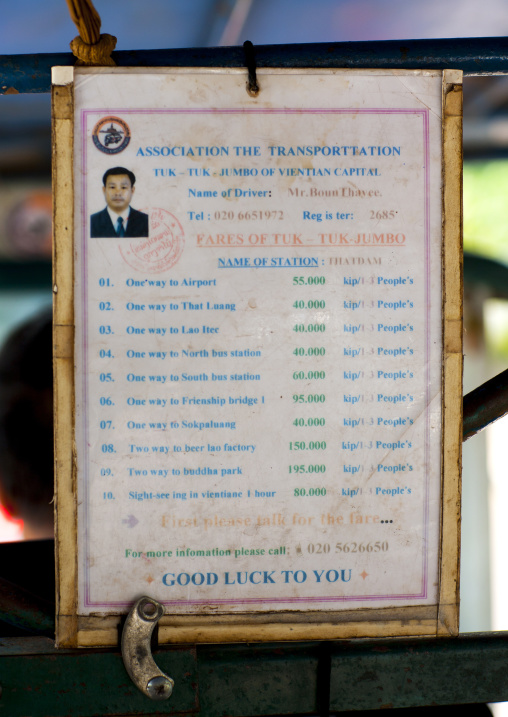 Price list in a taxi, Vientiane, Laos