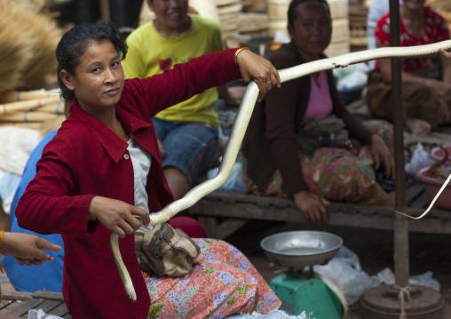 Woman selling snakes, Thakhek, Laos