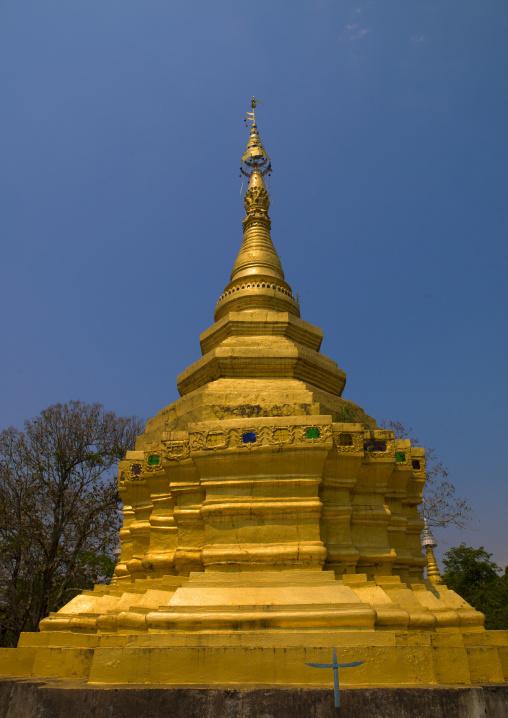 Buddhist gold covered stupa, Muang sing, Laos