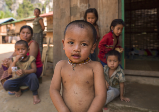 Kid and his family, Muang sing, Laos