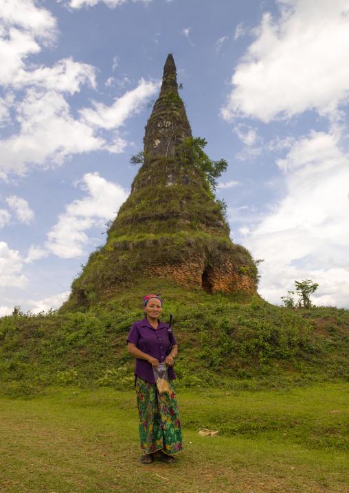 Old stupa coverd by grass, Phonsavan, Laos
