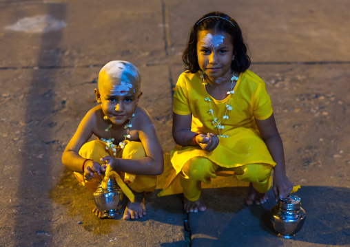 Portrait Of Children In Batu Caves In Annual Thaipusam Religious Festival, Southeast Asia, Kuala Lumpur, Malaysia