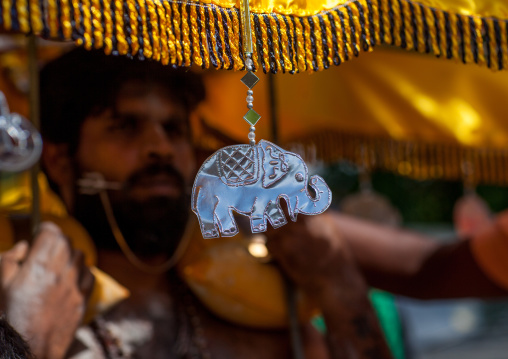 Elephant Decoration On The Kavadi Of A Devotee At Thaipusam Hindu Religious Festival In Batu Caves, Southeast Asia, Kuala Lumpur, Malaysia