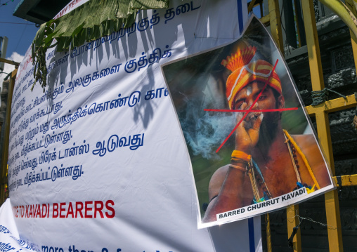 Billboard To Refrain From Smoking In Annual Thaipusam Religious Festival In Batu Caves, Southeast Asia, Kuala Lumpur, Malaysia