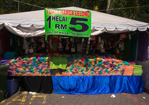 Towels Shop During The Annual Thaipusam Religious Festival In Batu Caves, Southeast Asia, Kuala Lumpur, Malaysia
