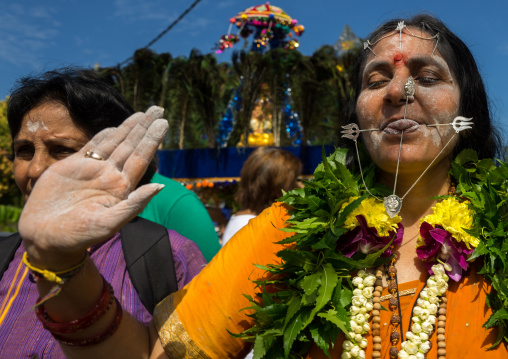 Hindu Devotee Woman With Pierced Tongue During Annual Thaipusam Religious Festival In Batu Caves, Southeast Asia, Kuala Lumpur, Malaysia